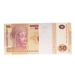 Pack of (100) Uncirculated 2013 Democratic Republic of Congo 50 Francs Bank Note