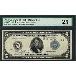 1914 $5 Federal Reserve Note New York Fr.851c PMG Very Fine 25