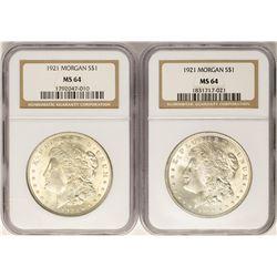 Lot of (2) 1921 $1 Morgan Silver Dollar Coins NGC MS64