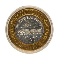 .999 Fine Silver Harveys Lake Tahoe, Nevada $10 Limited Edition Gaming Token