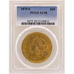 1875-S $20 Liberty Head Double Eagle Gold Coin PCGS AU58