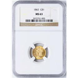 1862 Type 3 $1 Indian Princess Head Gold Dollar Coin NGC MS63