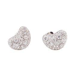 14KT White Gold 0.50 ctw Diamond Kidney Bean Shape Stud Earrings