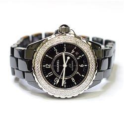 Chanel Ladies J12 Ceramic & Stainless Steel 33mm Black Diamond Dial Watch