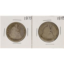 Lot of 1873 & 1878 Seated Liberty Half Dollar Coins