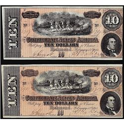 Lot of (2) Consecutive 1864 $10 Confederate States of America Notes
