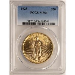 1923 $20 St. Gaudens Double Eagle Gold Coin PCGS MS64