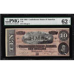 1864 $10 Confederate States of America Note T-68 PMG Uncirculated 62EPQ