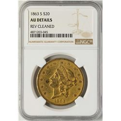 1863-S $20 Liberty Head Gold Coin NGC AU Details