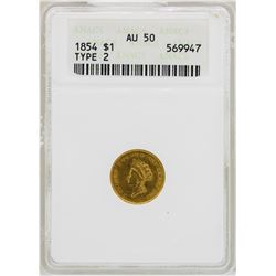 1854 $1 Indian Princess Head Type 2 Gold Dollar Coin ANACS AU50
