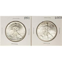 Lot of 1991 & 2003 $1 American Silver Eagle Coins