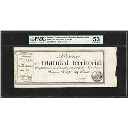 1796 France Promesses de Mandats Territoriaux 25 Francs PMG About Uncirculated 5