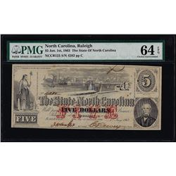 1863 $5 State of North Carolina Obsolete Note PMG Choice Uncirculated 64EPQ