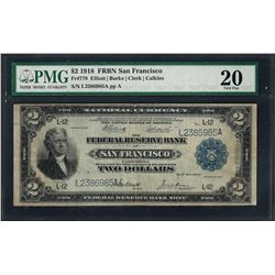 1918 $2 Battleship Federal Reserve Bank Note San Francisco Fr.779 PMG Very Fine