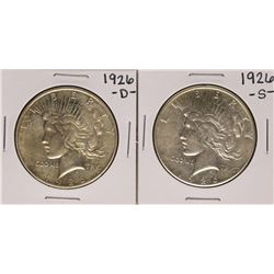 Lot of 1926-D & 1926-S $1 Peace Silver Dollar Coins