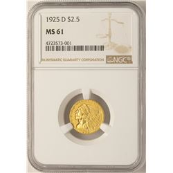 1925-D $2 1/2  Indian Head Quarter Eagle Gold Coin NGC MS61