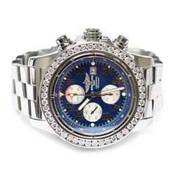 Breitling Mens Super Avenger Stainless Steel 48mm Blue Arabic Dial Watch