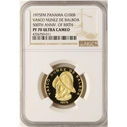 1975FM Panama 100 Balboas Gold Coin NGC PF70 Ultra Cameo