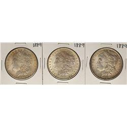 Lot of (3) 1889 $1 Morgan Silver Dollar Coins