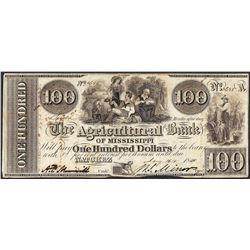 1840 $100 Agricultural Bank of Mississippi Natchez Obsolete Note