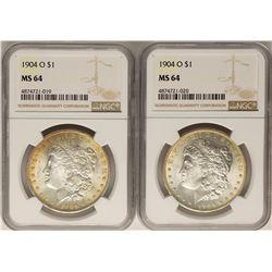 Lot of (2) 1904 O $1 Morgan Silver Dollar Coins NGC MS64
