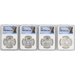 Lot of (2) 1982Mo & (2) 1983Mo Mexico Libertad Onza Silver Coins NGC MS65