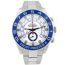 Rolex Mens Yacht-Master II Stainless Steel 44mm White & Blue Dial Watch