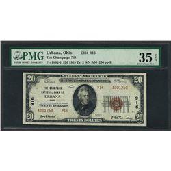 1929 $20 National Currency Note Urbana, Ohio CH# 916 PMG Very Fine 35EPQ