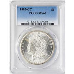 1892-CC $1 Morgan Silver Dollar Coin PCGS MS62