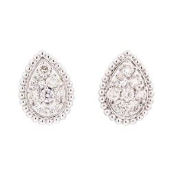 14KT White Gold 0.93 ctw Diamond Pear Shaped Cluster Stud Earrings