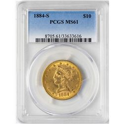 1884-S $10 Liberty Head Eagle Gold Coin PCGS MS61