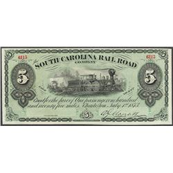 1873 $5 South Carolina Railroad Company Obsolete Note