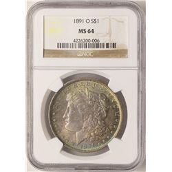 1891-O $1 Morgan Silver Dollar NGC MS64 Amazing Toning