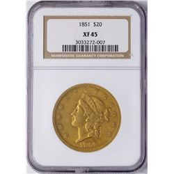 1851 $20 Liberty Head Double Eagle Gold Coin NGC XF45