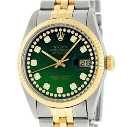 Rolex Mens Two Tone 14K Green String Diamond 36MM Datejust Watch
