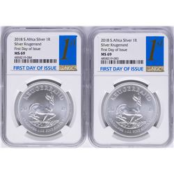 Lot of (2) 2018 South Africa Krugerrand Silver Coins NGC MS69 First Day of Issue