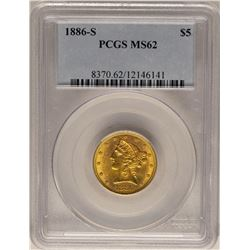 1886-S $5 Liberty Head Half Eagle Gold Coin PCGS MS62
