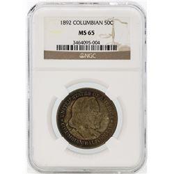 1893 Columbian Centennial Commemorative Half Dollar Coin NGC MS65
