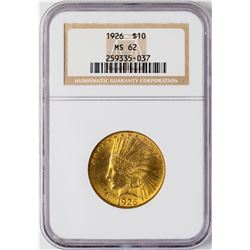1926 $10 Indian Head Eagle Gold Coin NGC MS62