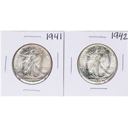Lot of 1941-1942 Walking Liberty Half Dollar Coins
