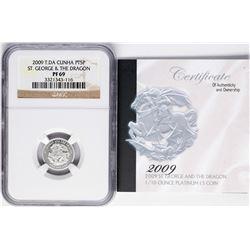 2009 T.DA Cunha 5 Pounds 1/10 oz St. George & Dragon Platinum Coin NGC PF69