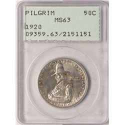 1920 Pilgrim Tercentenary Commemorative Half Dollar Coin PCGS MS63 Green Rattler