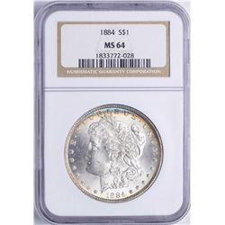 1884 $1 Morgan Silver Dollar Coin NGC MS64 Nice Toning