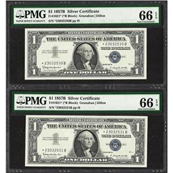 (2) Consecutive 1957B $1 Silver Certificate STAR Notes PMG Gem Uncirculated 66EP