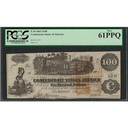 1862 $100 Confederate States of America Note T-39 PCGS New 61PPQ