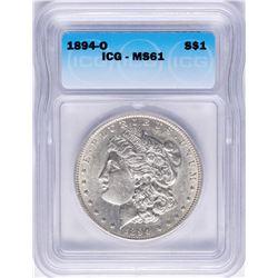 1894-O $1 Morgan Silver Dollar Coin ICG MS61