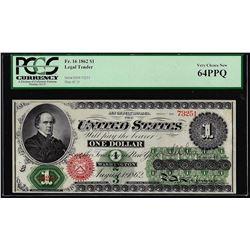 1862 $1 Legal Tender Note Fr.16 PCGS Very Choice New 64PPQ