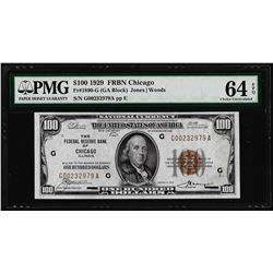 1929 $100 Federal Reserve Bank Note Chicago Fr.1890-G PMG Choice Uncirculated 64