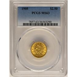 1905 $2 1/2 Liberty Head Quarter Eagle Gold Coin PCGS MS63