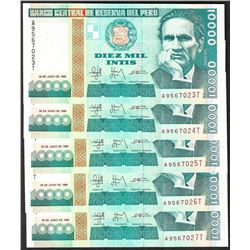 Lot of (5) 1988 Peru Diez Mil Intis Uncirculated Bank Notes